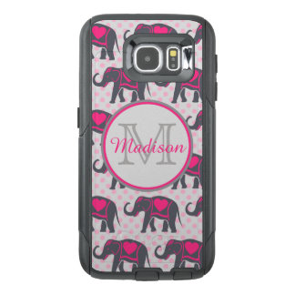 Gray Hot Pink Elephants on pink polka dots, name OtterBox Samsung Galaxy S6 Case