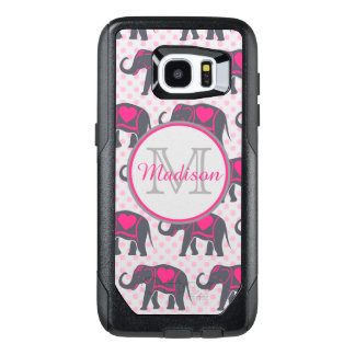 Gray Hot Pink Elephants on pink polka dots, name OtterBox Samsung Galaxy S7 Edge Case