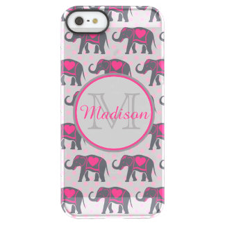 Gray Hot Pink Elephants on pink polka dots, name Permafrost® iPhone SE/5/5s Case