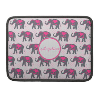 Gray Hot Pink Elephants on pink polka dots, name Sleeves For MacBooks