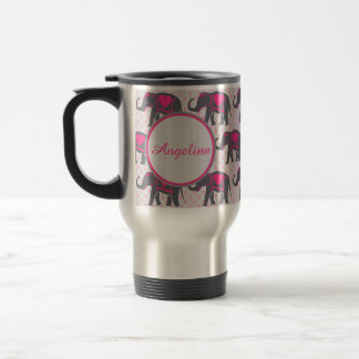 Gray Hot Pink Elephants on pink polka dots, name Travel Mug
