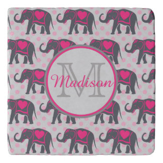 Gray Hot Pink Elephants on pink polka dots, name Trivet