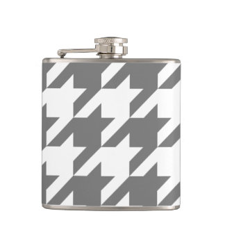 Gray Houndstooth Vinyl Wrapped Flask