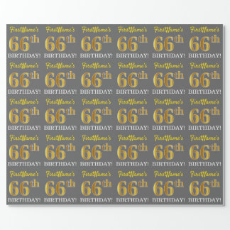 "Gray, Imitation Gold Look ""66th BIRTHDAY"" Wrapping Paper"