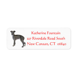 Gray Italian Greyhound Puppy Dog Red Return Address Label