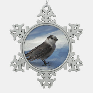 Gray Jay in the Snow Pewter Snowflake Ornament