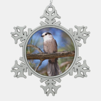 Gray Jay On A Branch Pewter Snowflake Ornament