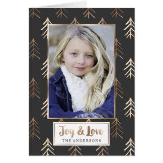 Gray Joy and Love | Folded Holiday Photo Card