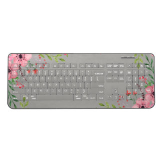 Gray Keyboard With Pretty Pink Watercolor Flowers