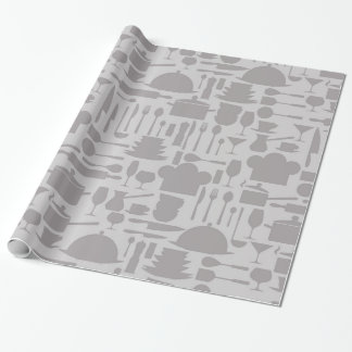 Gray Kitchen Gadget Print Wrapping Paper