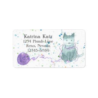 Gray Kitten Purple Yarn