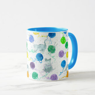 Gray Kittens Knitting Yarn Blue Mug