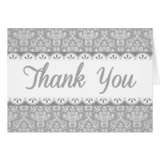 Gray Lace Thank You Card