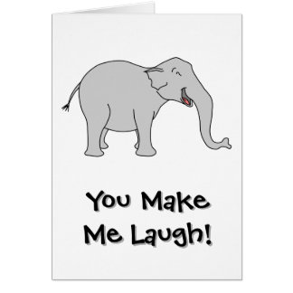 Gray Laughing Elephant. Cartoon. Card