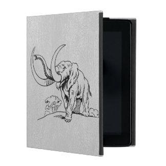 Gray Leather & Black Elephants Illustration iPad Case