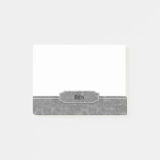 Gray Leather Look Monogram Post-it Notes