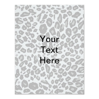 """Gray leopard print 4.25"""" x 5.5"""" invitation card"""