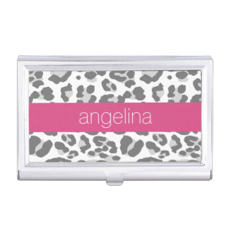 Gray Leopard Print Pattern with Pink Name Business Card Holder