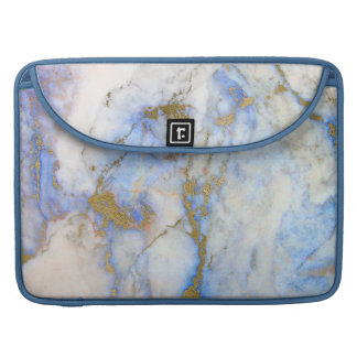 Gray & Light Blue Marble Gold Accents Sleeve For MacBook Pro