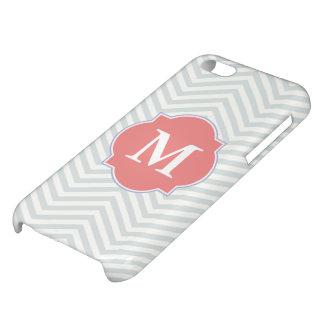 Gray & Light Coral Modern Chevron Custom Monogram iPhone 5C Case