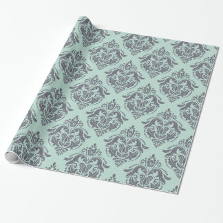 Gray & Light Green Floral Damasks Wrapping Paper