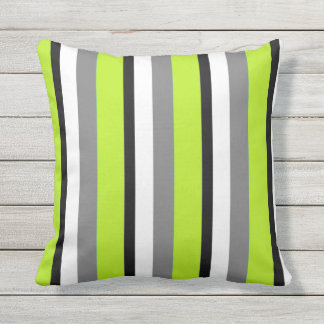 Gray Lime Black White Stripe Throw Pillow
