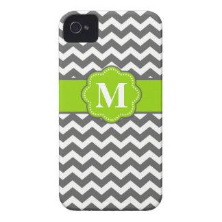 Gray Lime Green Chevron Monogram Phone Case