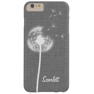 Gray Linen Dandelion Monogrammed iPhone 6/6s Plus Barely There iPhone 6 Plus Case