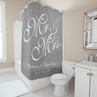 Gray Linen Look Mr. and Mrs. Names Date Wedding