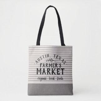 Gray Linen Stripes Custom Farmer's Market Tote