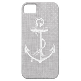 Gray Linen Texture & Vintage Anchor Illustration iPhone 5 Case