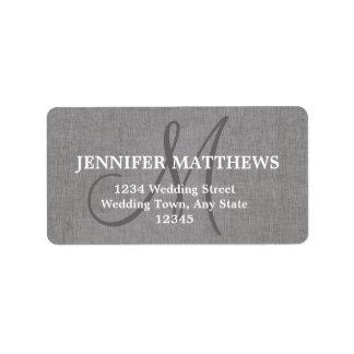 Gray Linen Wedding Reply Card Address Label
