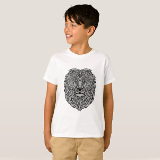 Gray Lion Art on Boy's White T-Shirt