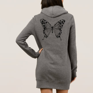 "Gray long Sweat with hood for woman ""butterfly "" Dress"