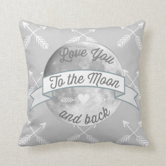 Gray Love You to the Moon Arrow Pattern Throw Pillow
