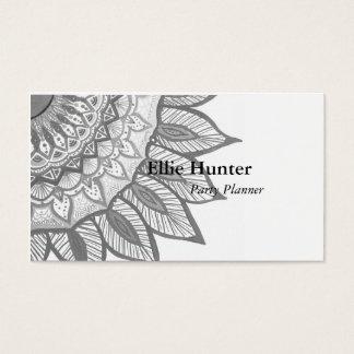 Gray Mandala Flower Custom Business Cards