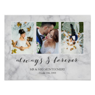 Gray Marble Always & Forever Wedding Photo Collage Poster