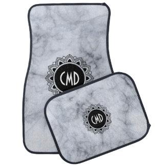 Gray Marble Black Circle Mandala Monogram Car Mat