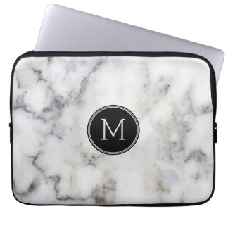 Gray Marble Stone Monogram Laptop Sleeve