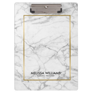 Gray Marble Stone Texture Gold Border Clipboard