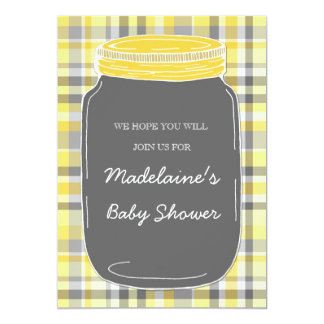 Gray Mason Jar Custom Baby Shower Invitations