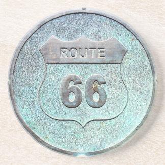 Gray Metal Route 66 Plaque Beverage Coasters