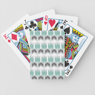 Gray Mint Aqua Modern Abstract Floral Ikat Pattern Bicycle Playing Cards