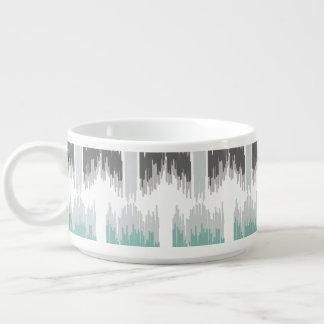 Gray Mint Aqua Modern Abstract Floral Ikat Pattern Bowl