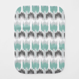 Gray Mint Aqua Modern Abstract Floral Ikat Pattern Burp Cloth
