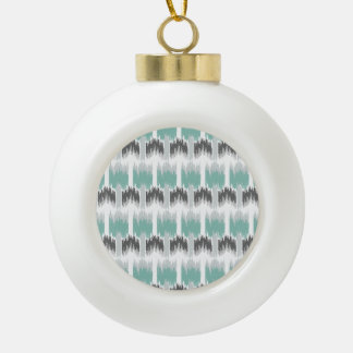 Gray Mint Aqua Modern Abstract Floral Ikat Pattern Ceramic Ball Ornament