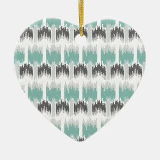 Gray Mint Aqua Modern Abstract Floral Ikat Pattern Ceramic Heart Ornament