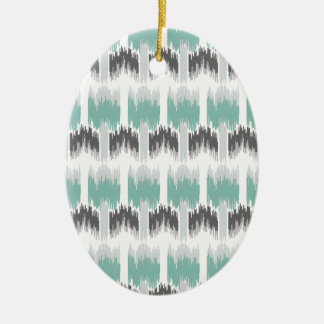 Gray Mint Aqua Modern Abstract Floral Ikat Pattern Ceramic Oval Ornament