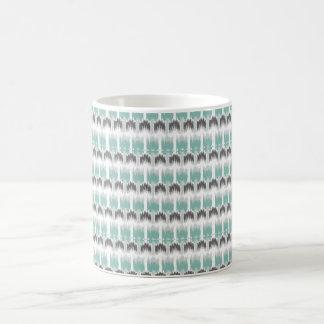 Gray Mint Aqua Modern Abstract Floral Ikat Pattern Coffee Mug