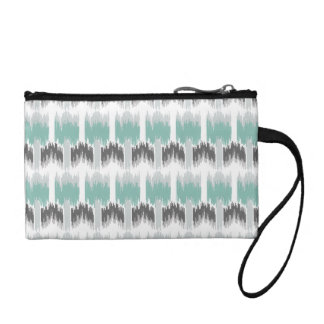 Gray Mint Aqua Modern Abstract Floral Ikat Pattern Coin Purse